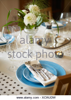 A table ready laid, Sweden. - Stock Photo