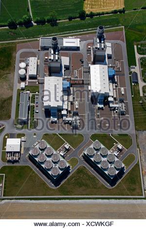 Aerial photo, Kraftwerk Westfalen power plant, gas turbine power plant, Trianel, Uentrop, Hamm, Ruhrgebiet region, North Rhine- - Stock Photo