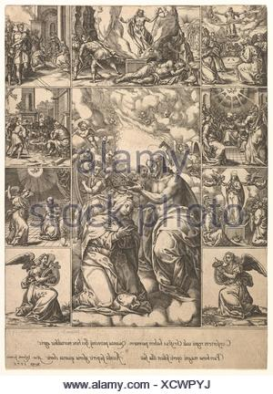 The Coronation of the Virgin; surrounded by nine vignettes with scenes from the life of Christ and the Virgin. Artist: Engraved by Giorgio Ghisi - Stock Photo