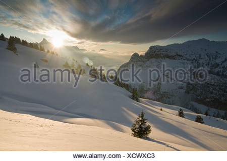 Wintry panoramic view of the Alps, Flaine, France, Europe - Stock Photo