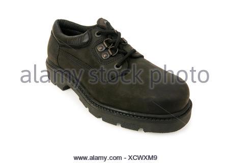 boot, isolated, male, masculine, new, hike, go hiking, ramble, black, swarthy, - Stock Photo