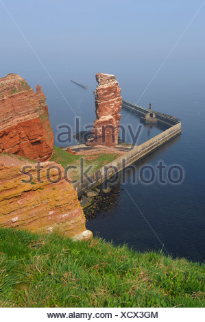 Lange Anna rock, on the deep-sea island Helgoland, Schleswig-Holstein, Germany, Europe - Stock Photo