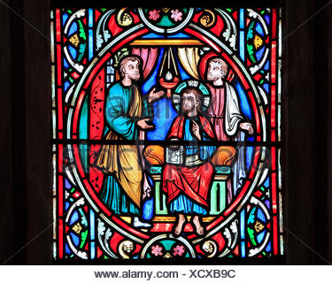 Scene from Life of Jesus, by Adolph Didron, Paris, 1860, stained glass window, Feltwell, Norfolk, England, Jesus meets and recruits disciple - Stock Photo
