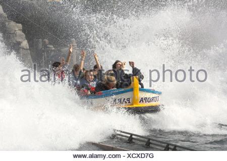 Water roller coaster poseidon, Europa park Rust, Bade-Wuerttemberg, Germany - Stock Photo