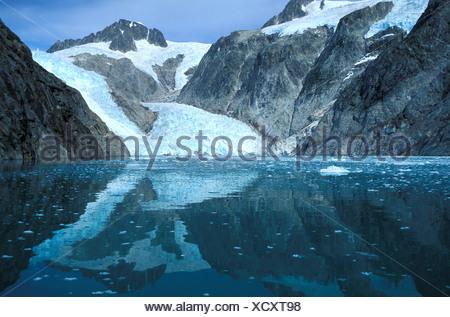 Northwestern Glacier, Kenai Fjords, National Park, Alaska, USA, ice, snow, cold, rocks, mountains, reflections, beauty, calm, fl - Stock Photo