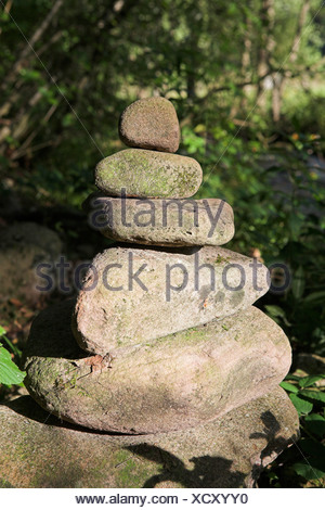 Stone pyramid, Eyachtal Valley, Baden-Wuerttemberg, Germany, Europe - Stock Photo