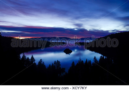 A predawn view of Emerald Bay just before sunrise in Lake Tahoe, California. - Stock Photo