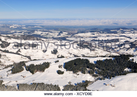 View of the wintery Appenzellerland, Canton of Appenzell Innerrhoden, Switzerland, Europe - Stock Photo