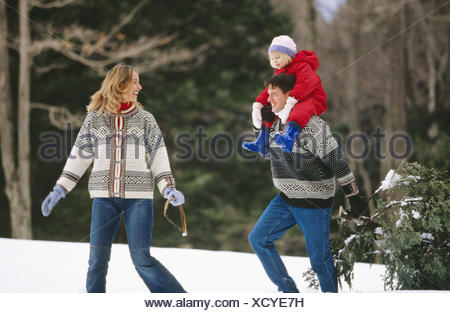 Bringing home the Christmas tree - Stock Photo