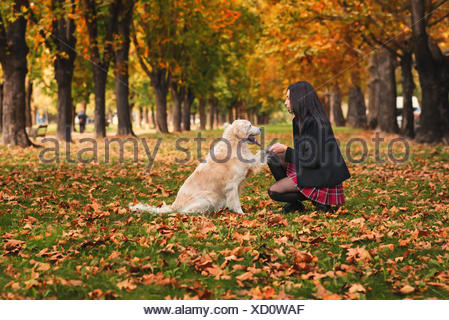 Girl sitting in park with her dog - Stock Photo