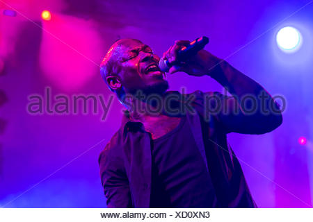 Singer and frontman Kelvin Swaby of the British indie rock band 'The Heavy' performing live at the Lucerne hall of the KKL - Stock Photo