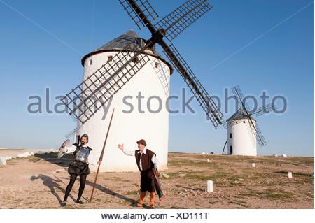 Don quijote and sancho panza in the Windmills of campo de criptana, ciuidad real province, castile la mancha, spain - Stock Photo