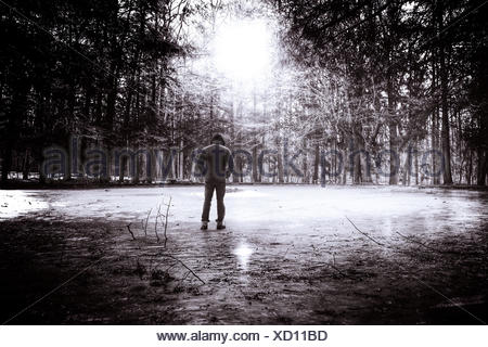 Young man in hooded shirt standing in park, Rear view - Stock Photo