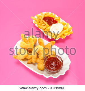 Fried prawns and french fries - Stock Photo