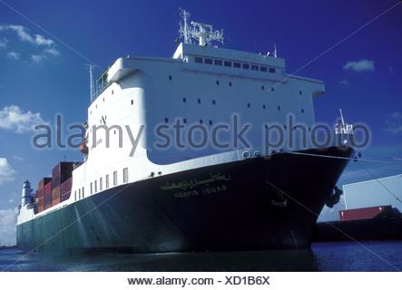 View from Bow of Container Ship - Stock Photo
