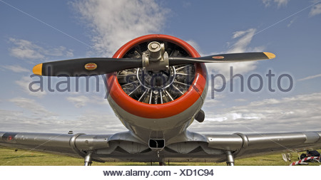 North American AT-6G Harvard IIB on the ground at Solai Air-show, Norway - Stock Photo