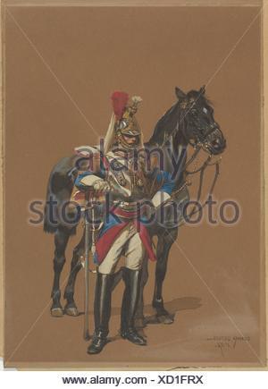 Cuirassier. Draftsman: Édouard Detaille (French, Paris 1848-1912 Paris); Date: 1872; Medium: Watercolor on paper; Dimensions: Sheet: 10 1/8 x 7 in. - Stock Photo