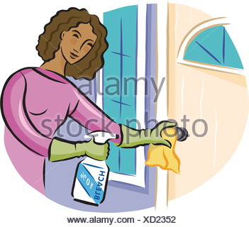 A woman cleaning a door knob with bleach disinfectant spray - Stock Photo
