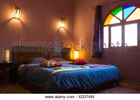 Beautiful Deluxe Room Background Interi Authentic Arabic Bedroom In A Traditional Moroccan Riad Guesthouse Essaouira Morocco