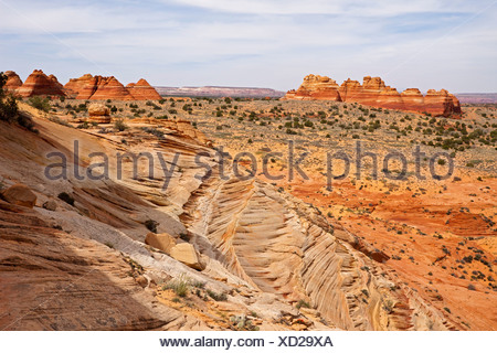 South Teepees, rock formations in Coyote Buttes North, Paria Canyon-Vermilion Cliffs Wilderness, Utah, Arizona, USA - Stock Photo