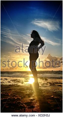 Full Length Of Pregnant Woman Standing On Beach Against Sky During Sunset - Stock Photo