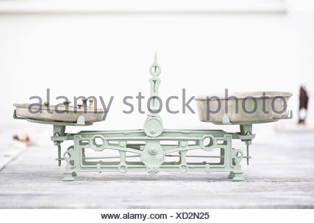 Germany, Close up of old weighing scale with balance weights in it - Stock Photo