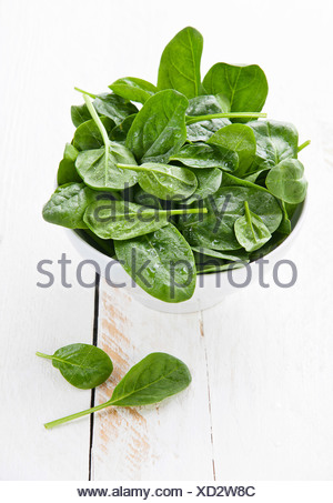 Young spinach in white bowl - Stock Photo