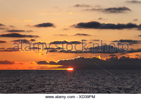 Sunset over the sea, La Gomera, Canary Islands, Spain, Europe - Stock Photo