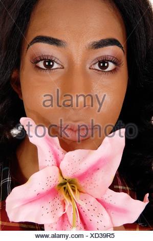 Closeup of woman's face. - Stock Photo