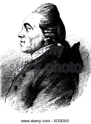 Nicolai, Christoph Friedrich, 18.3.1733 - 8.1.1811, German bookseller, author / writer, portrait, wood engraving, before 1883, Additional-Rights-Clearances-NA - Stock Photo