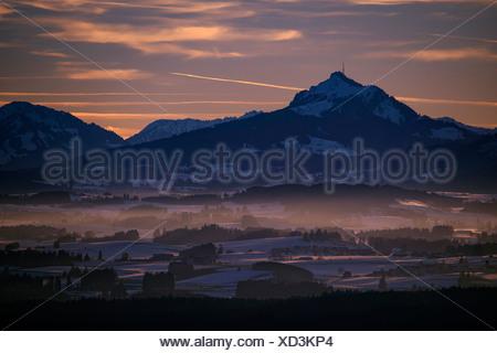 Peak of Mt Grünten with the Alpine foothills at sunset, Auerberg, Ostallgäu, Bavaria, Germany - Stock Photo