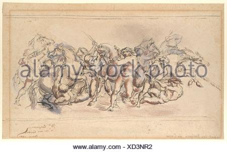 Start of the Race of the Barberi Horses, Rome. Artist: Jean-Baptiste Carpeaux (French, Valenciennes 1827-1875 Courbevoie); Date: 1860; Medium: Pen - Stock Photo