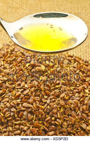 flaxseed and flaxseed oil - Stock Photo