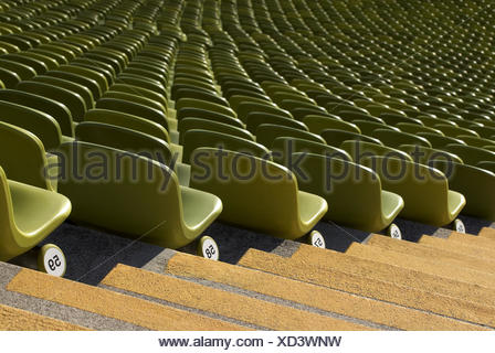 Seating, seats, series, numbering, figures, stairs, selection, green, - Stock Photo