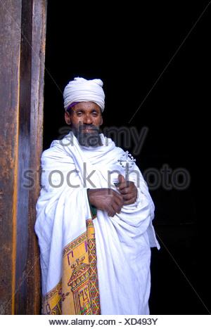Orthodox priest in Lalibella, Ethiopia, Africa - Stock Photo