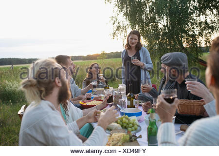 Pregnant woman toasting friends at garden party dinner in rural yard - Stock Photo