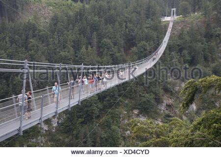 Suspension bridge, Reutte Tirol, Highline 179 - Stock Photo