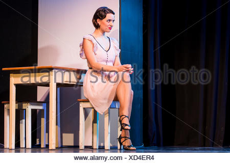 The musical Chicago with Annette Krossa as Roxie Hart live at the Le Théâtre theatre in Kriens, Luzern, Switzerland, Europe - Stock Photo