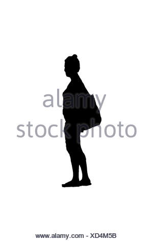 Side View Woman with Bag Silhouette - Stock Photo