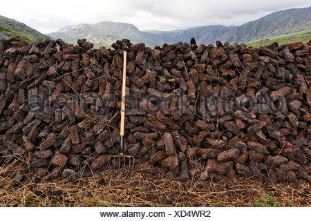 Cut turf which is stratified for drying, Kerry, Ireland - Stock Photo