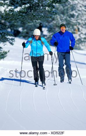 Cross-country skiing in Lake Tahoe. - Stock Photo