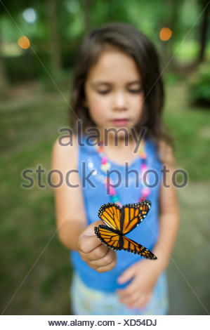 A young girl holds a preserved butterfly. - Stock Photo
