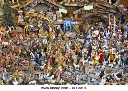 many different Christmas crib figures - Stock Photo