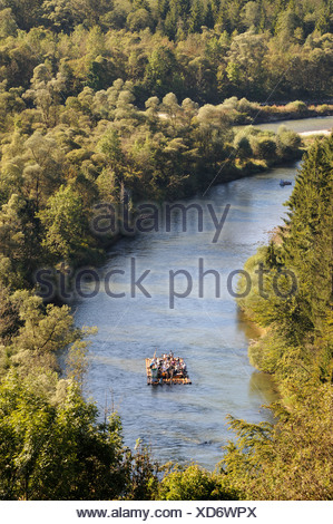 Rafting on the Loisach river near Wolfratshausen, Upper Bavaria, Bavaria, Germany, Europe, PublicGround - Stock Photo