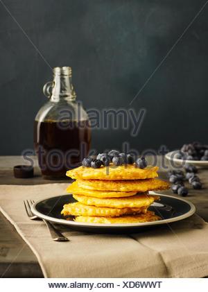 Pumpkin pancake with blueberries - Stock Photo