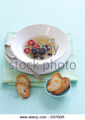 Citrus soup with forest berries and fennel - Stock Photo