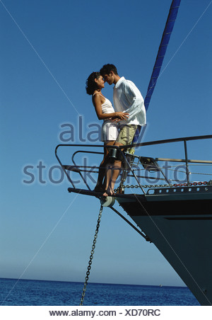 Couple on sailing boat - Stock Photo