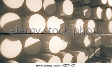 abstract cylinders and their reflections - Stock Photo