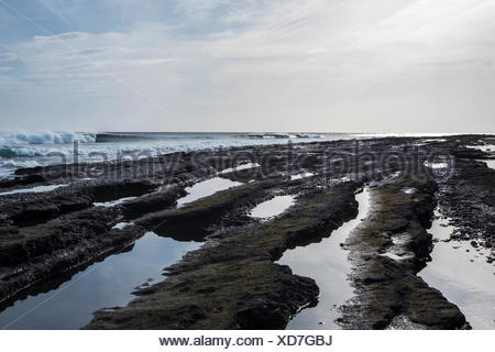 Spain, Teneriffe, black lava beach - Stock Photo