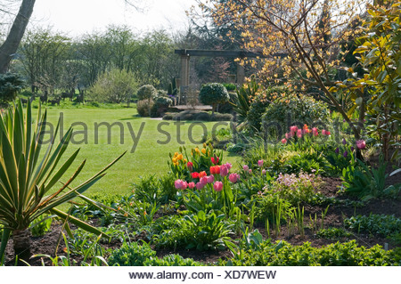 Spring Garden with colourful tulips at John\'s garden, Ashwood Stock ...